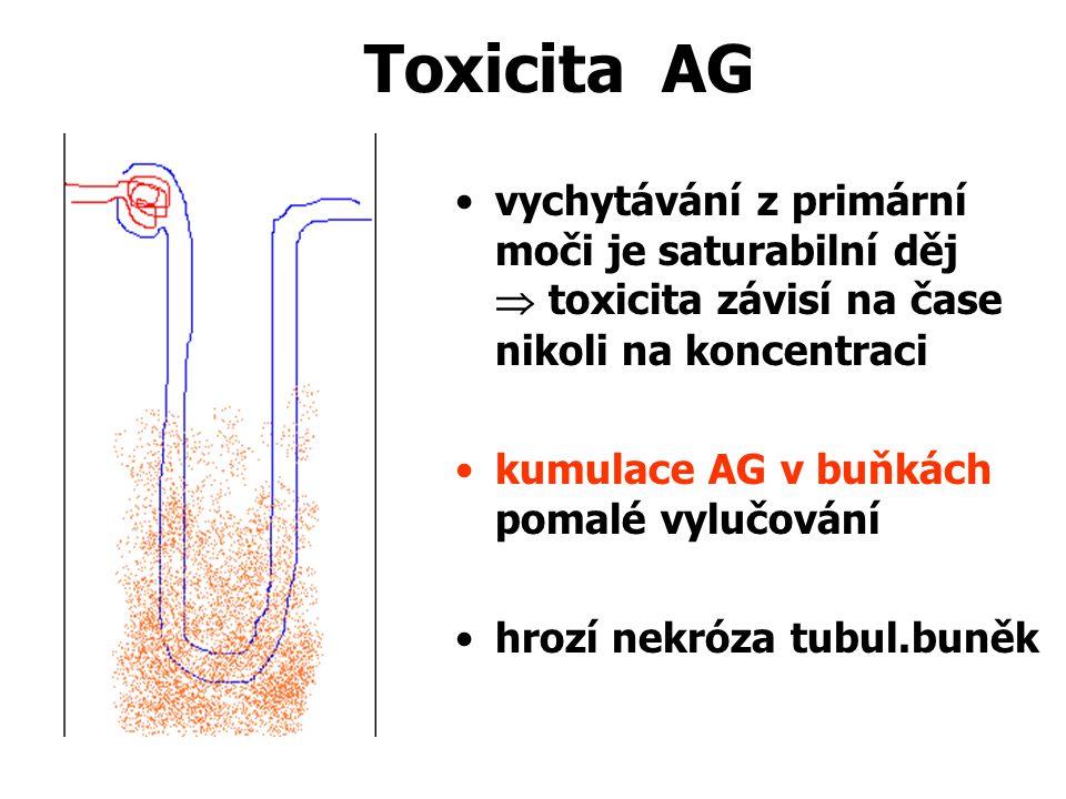 Toxicita AG vychytávání z primární moči je saturabilní děj  toxicita závisí na čase nikoli na koncentraci.