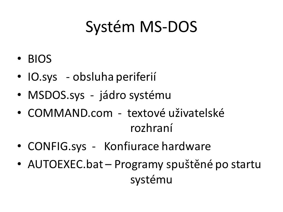 Systém MS-DOS BIOS IO.sys - obsluha periferií