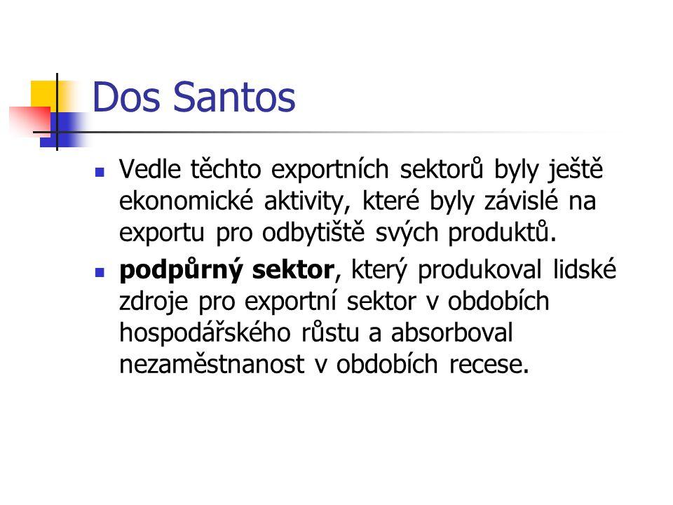 Dos Santos Vedle těchto exportních sektorů byly ještě ekonomické aktivity, které byly závislé na exportu pro odbytiště svých produktů.