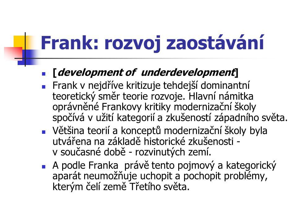 Frank: rozvoj zaostávání