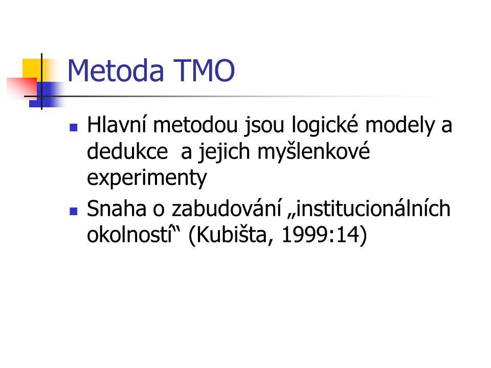 Metoda TMO Hlavní metodou jsou logické modely a dedukce a jejich myšlenkové experimenty.