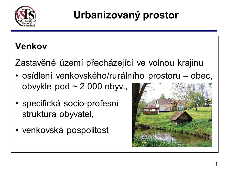 Urbanizovaný prostor Venkov
