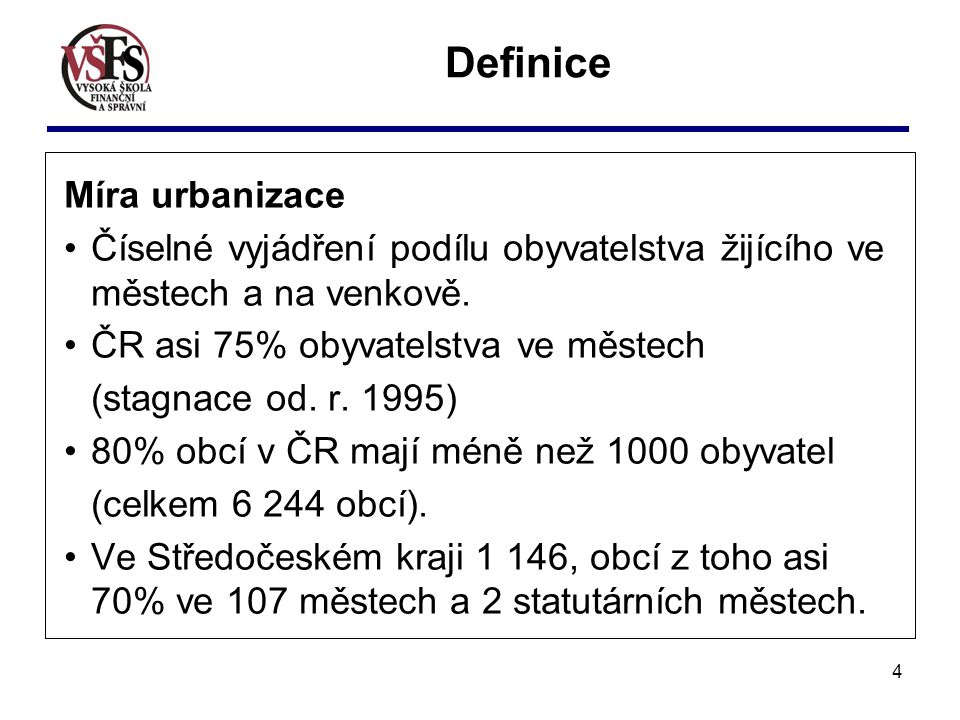 Definice Míra urbanizace