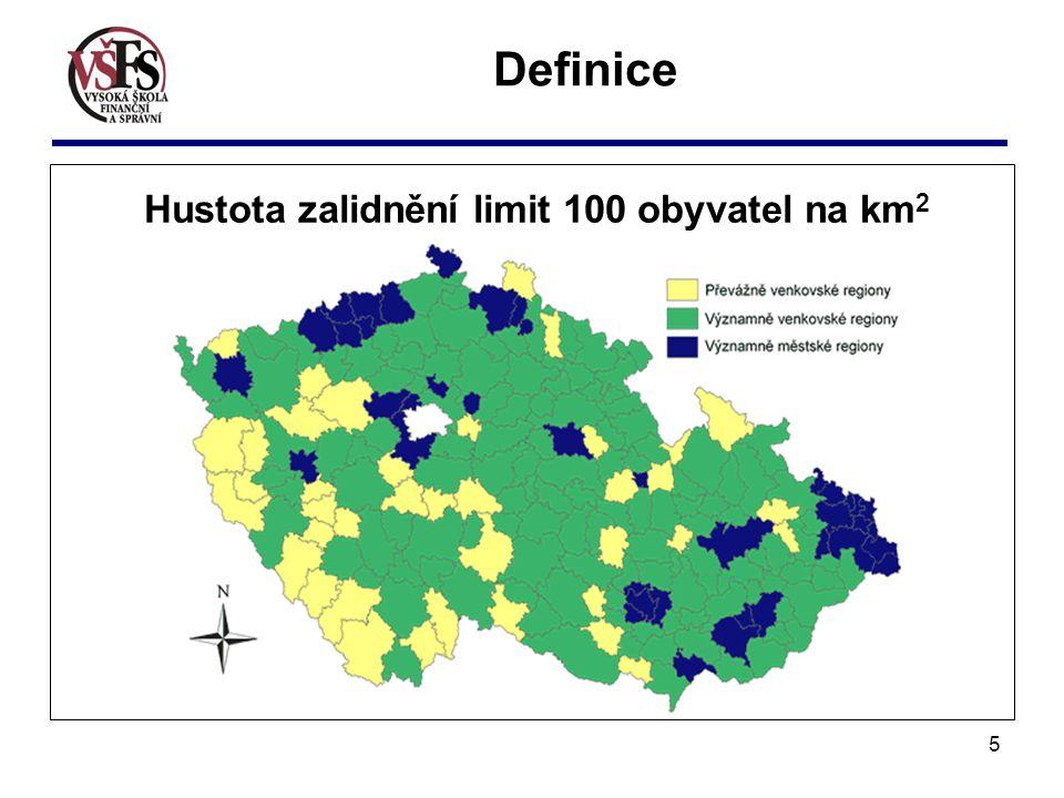 Hustota zalidnění limit 100 obyvatel na km2