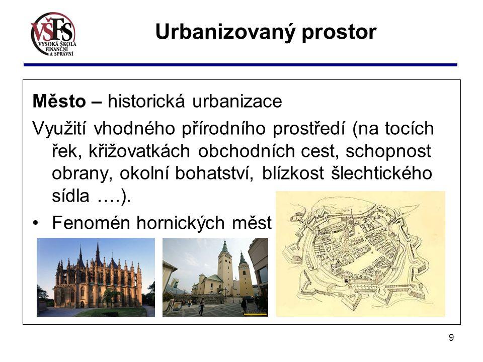 Urbanizovaný prostor Město – historická urbanizace
