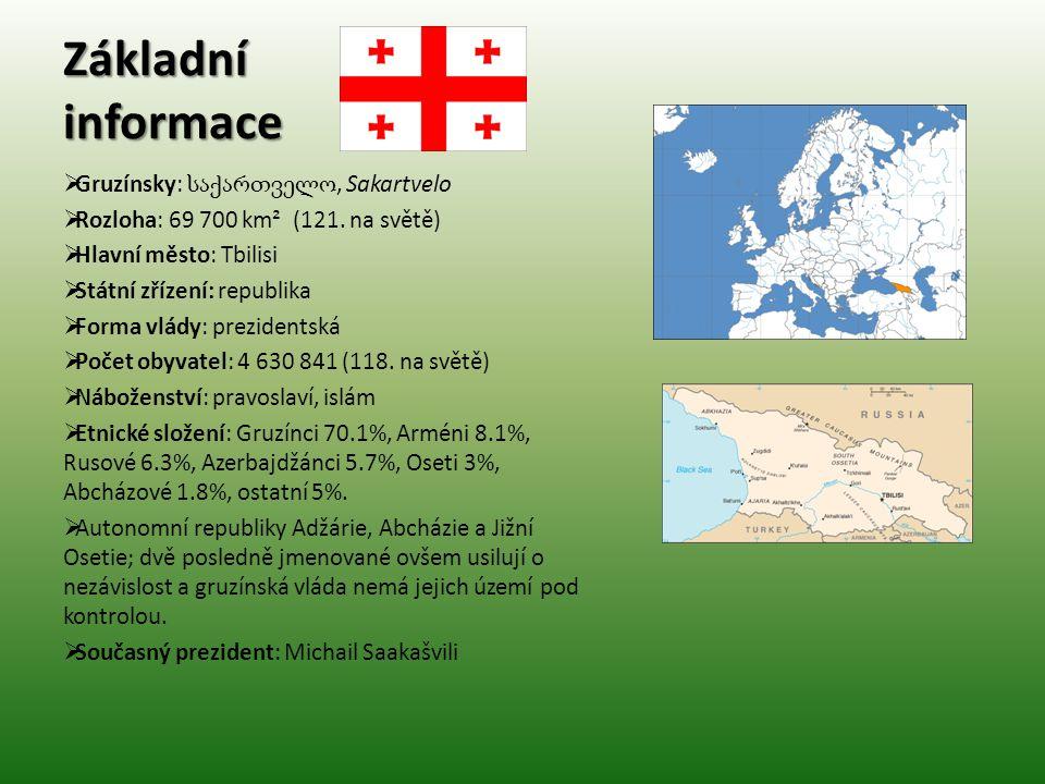 Základní informace Gruzínsky: საქართველო, Sakartvelo