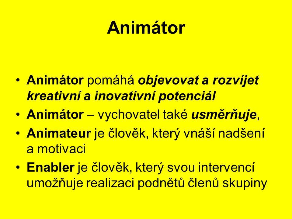 Animátor Animátor pomáhá objevovat a rozvíjet kreativní a inovativní potenciál. Animátor – vychovatel také usměrňuje,