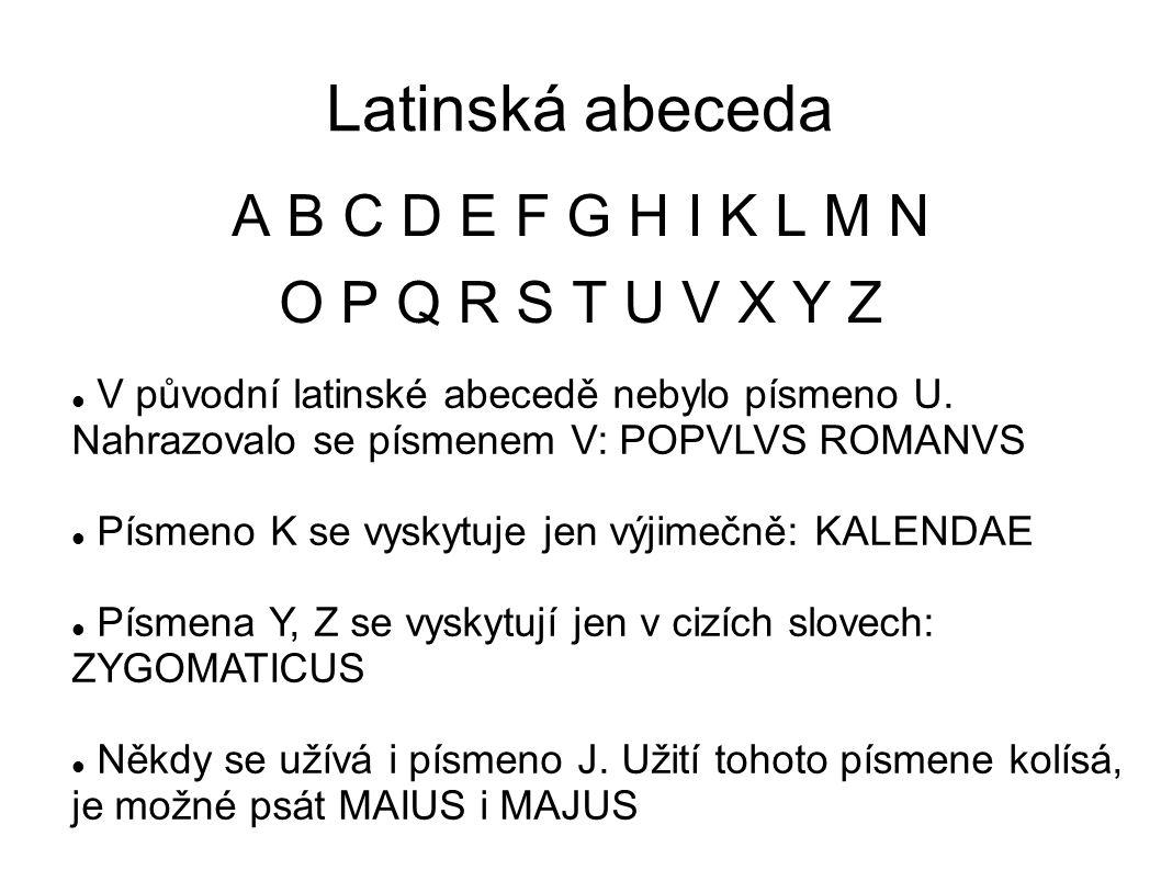 Latinská abeceda A B C D E F G H I K L M N O P Q R S T U V X Y Z