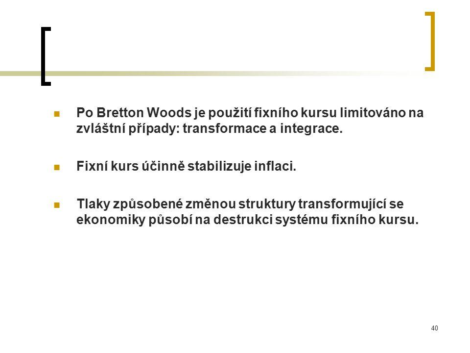 Po Bretton Woods je použití fixního kursu limitováno na zvláštní případy: transformace a integrace.