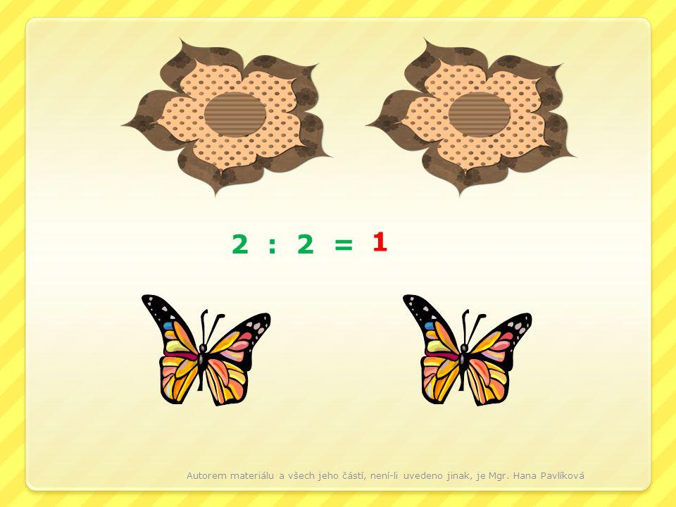 2 : 2 = 1 Autorem materiálu a všech jeho částí, není-li uvedeno jinak, je Mgr. Hana Pavlíková