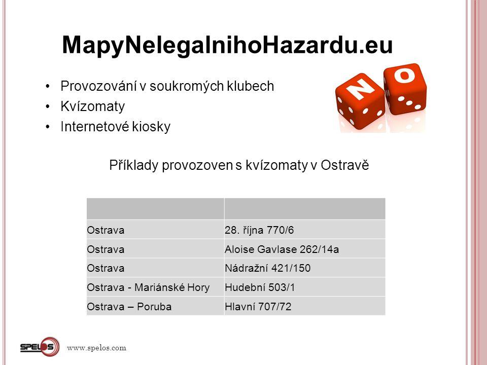 MapyNelegalnihoHazardu.eu Provozování v soukromých klubech Kvízomaty