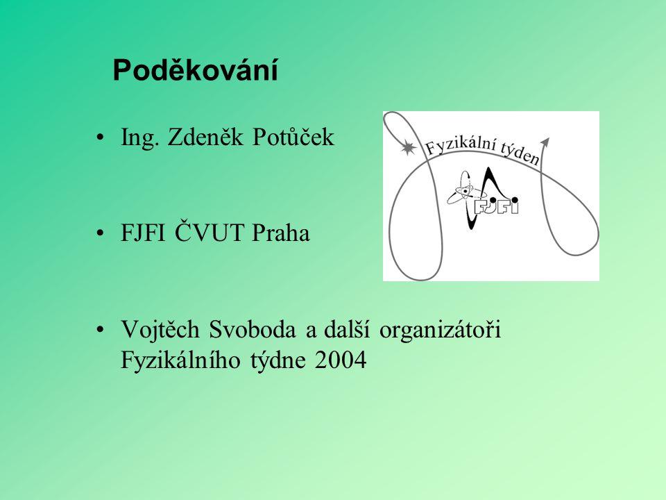 Poděkování Ing. Zdeněk Potůček FJFI ČVUT Praha