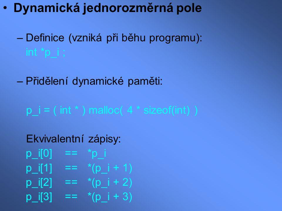 Dynamická jednorozměrná pole