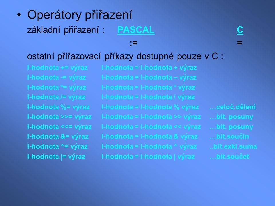 Operátory přiřazení základní přiřazení : PASCAL C := =