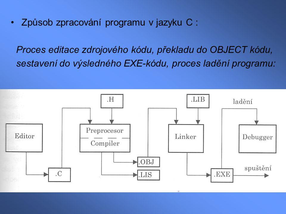 Způsob zpracování programu v jazyku C :