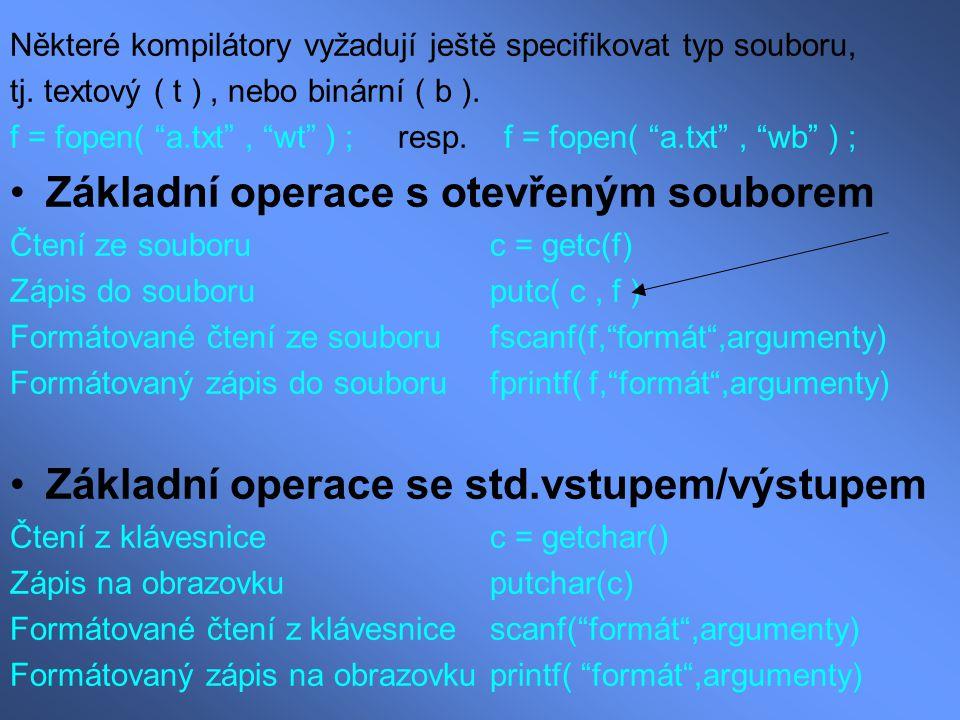 Základní operace s otevřeným souborem