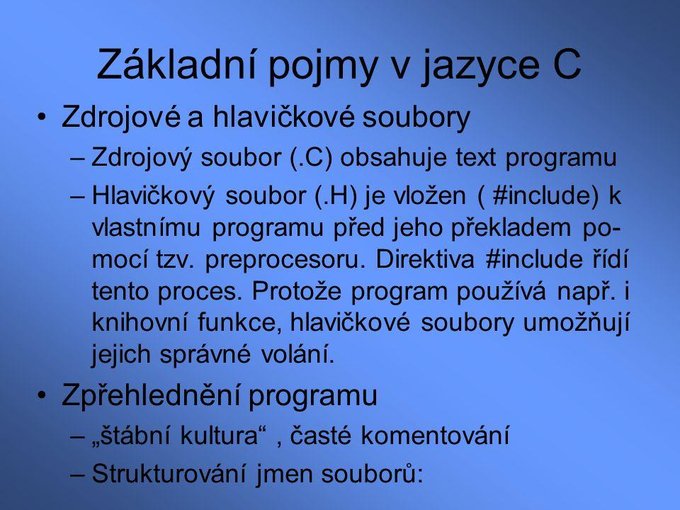 Základní pojmy v jazyce C