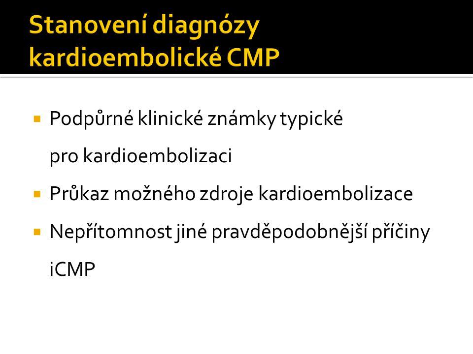 Stanovení diagnózy kardioembolické CMP