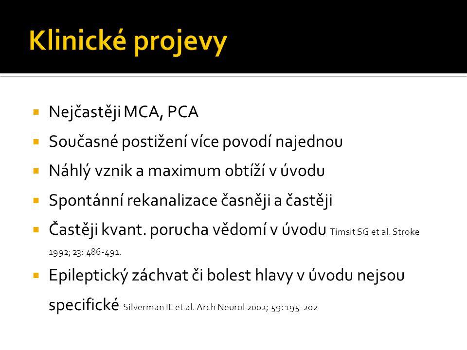 Klinické projevy Nejčastěji MCA, PCA