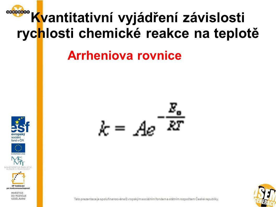 Kvantitativní vyjádření závislosti rychlosti chemické reakce na teplotě