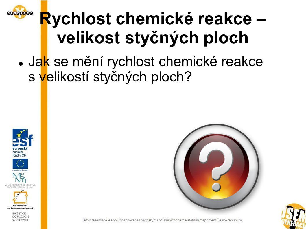 Rychlost chemické reakce – velikost styčných ploch