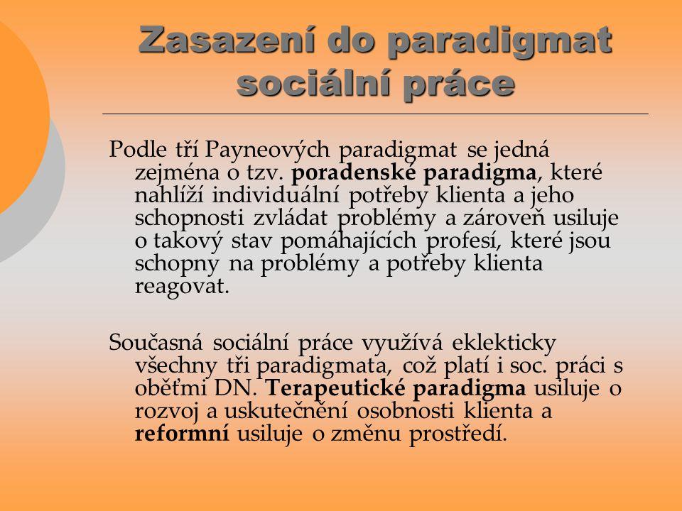 Zasazení do paradigmat sociální práce