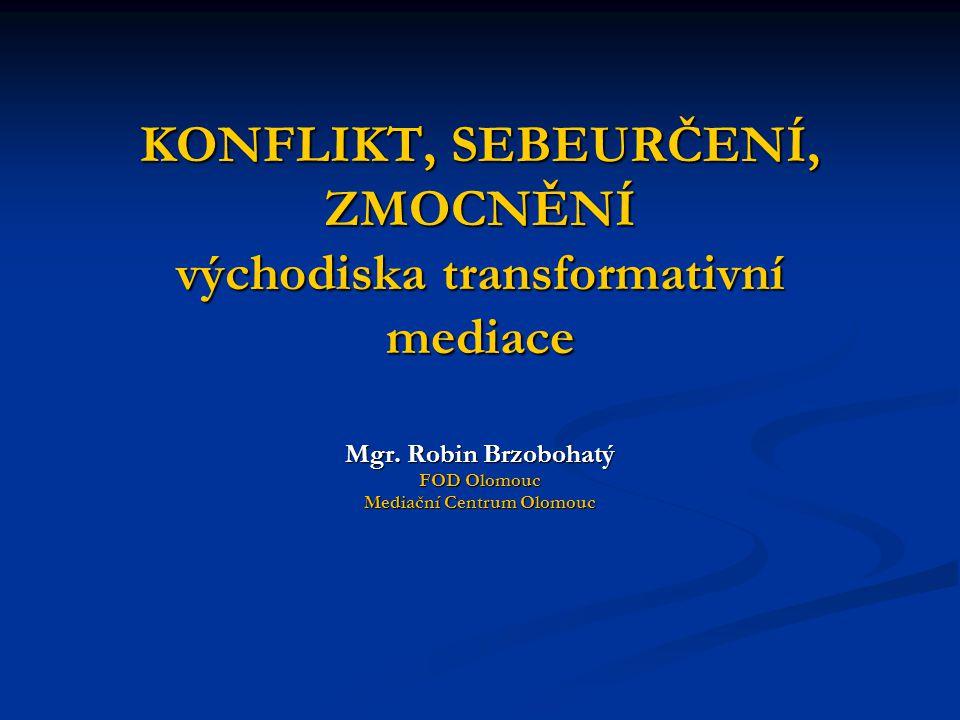 KONFLIKT, SEBEURČENÍ, ZMOCNĚNÍ východiska transformativní mediace