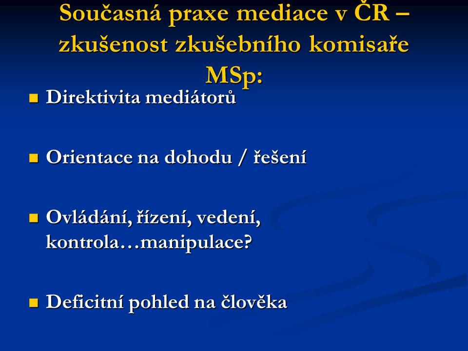 Současná praxe mediace v ČR – zkušenost zkušebního komisaře MSp: