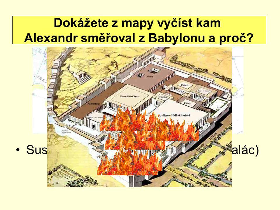 Dokážete z mapy vyčíst kam Alexandr směřoval z Babylonu a proč