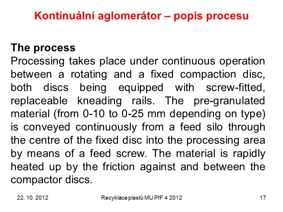 Kontinuální aglomerátor – popis procesu