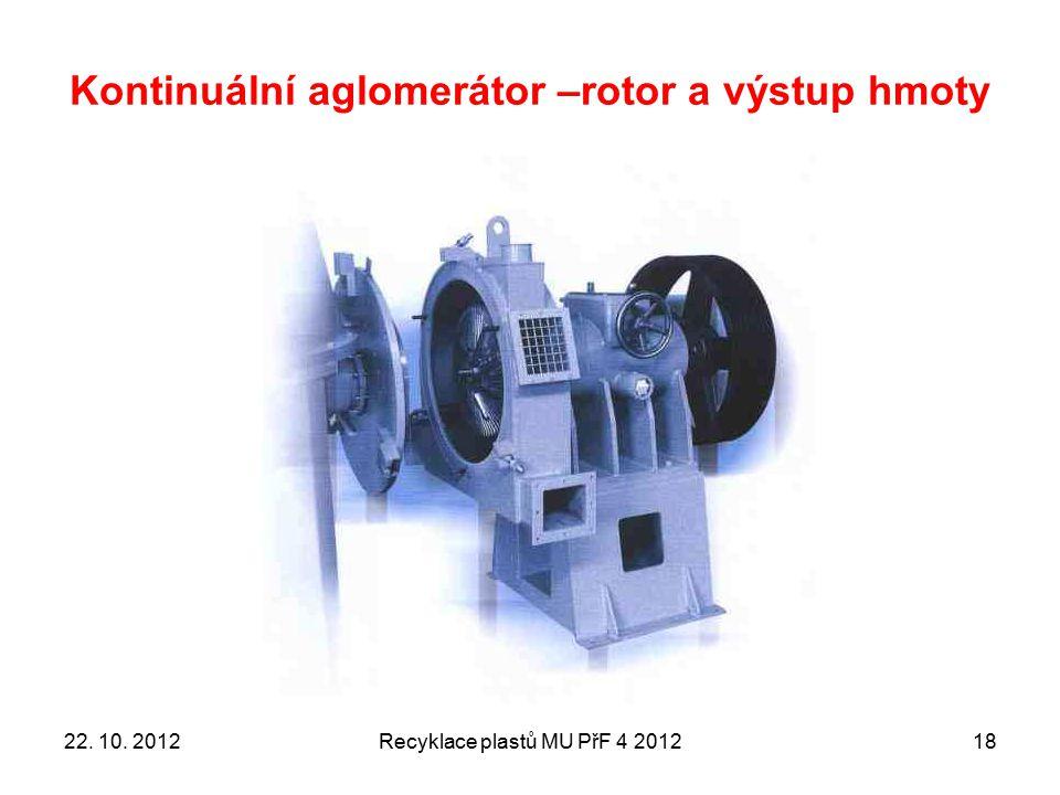 Kontinuální aglomerátor –rotor a výstup hmoty
