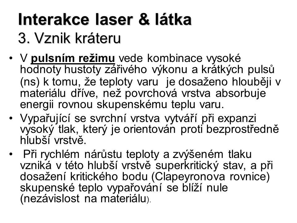 Interakce laser & látka 3. Vznik kráteru