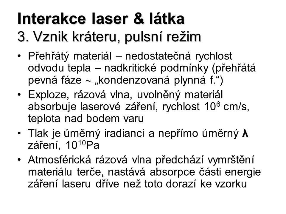 Interakce laser & látka 3. Vznik kráteru, pulsní režim