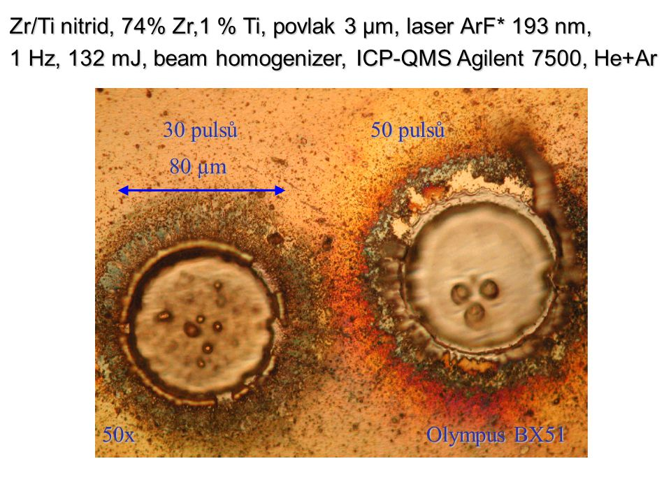 Zr/Ti nitrid, 74% Zr,1 % Ti, povlak 3 µm, laser ArF* 193 nm,