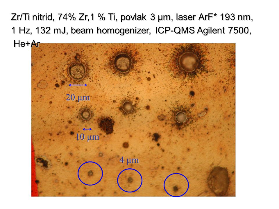 4 µm Zr/Ti nitrid, 74% Zr,1 % Ti, povlak 3 µm, laser ArF* 193 nm, 1 Hz, 132 mJ, beam homogenizer, ICP-QMS Agilent 7500,