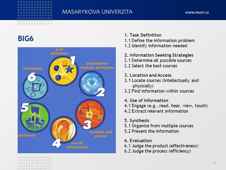BIG6 1. Task Definition 1.1 Define the information problem
