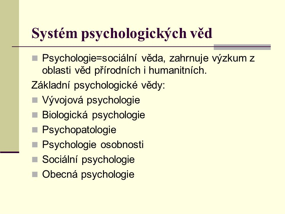 Systém psychologických věd