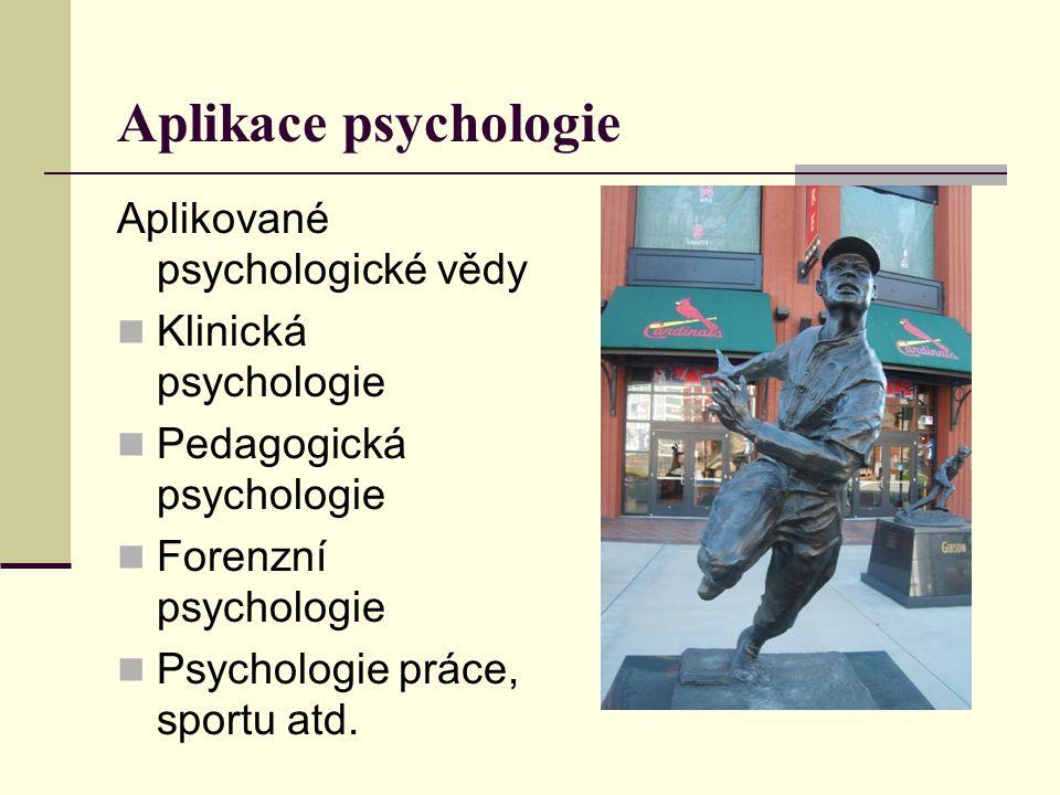 Aplikace psychologie Aplikované psychologické vědy