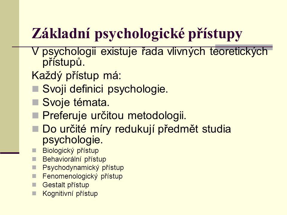 Základní psychologické přístupy