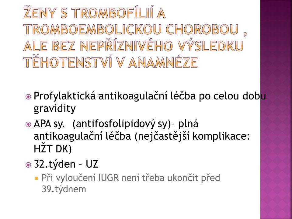 Ženy s trombofílií a tromboembolickou chorobou , ale bez nepříznivého výsledku těhotenství v anamnéze