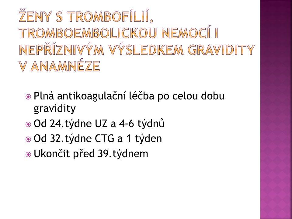 Ženy s trombofílií, tromboembolickou nemocí i nepříznivým výsledkem gravidity v anamnéze