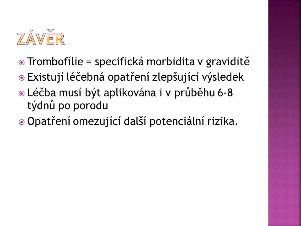 Závěr Trombofílie = specifická morbidita v graviditě