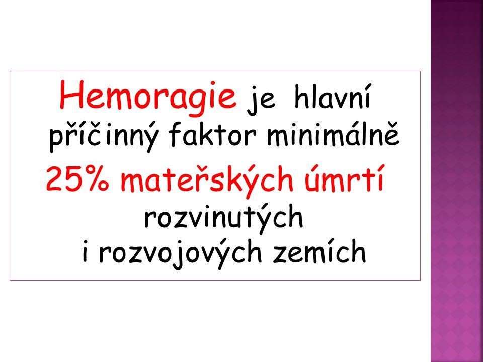 Hemoragie je hlavní příčinný faktor minimálně