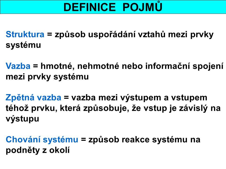 DEFINICE POJMŮ Struktura = způsob uspořádání vztahů mezi prvky systému
