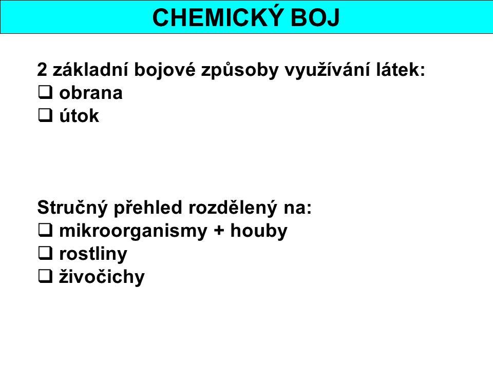 CHEMICKÝ BOJ 2 základní bojové způsoby využívání látek: obrana útok