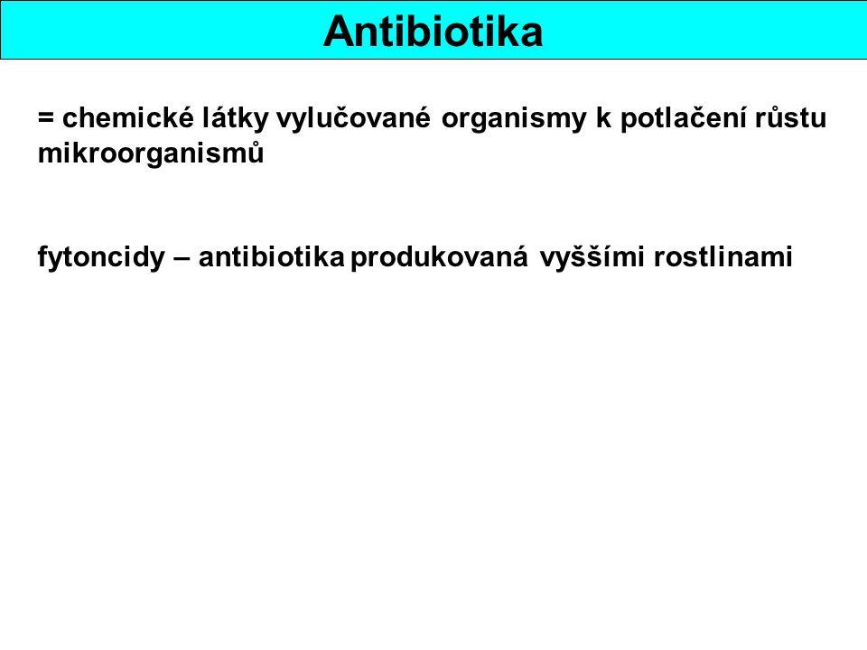 Antibiotika = chemické látky vylučované organismy k potlačení růstu mikroorganismů.