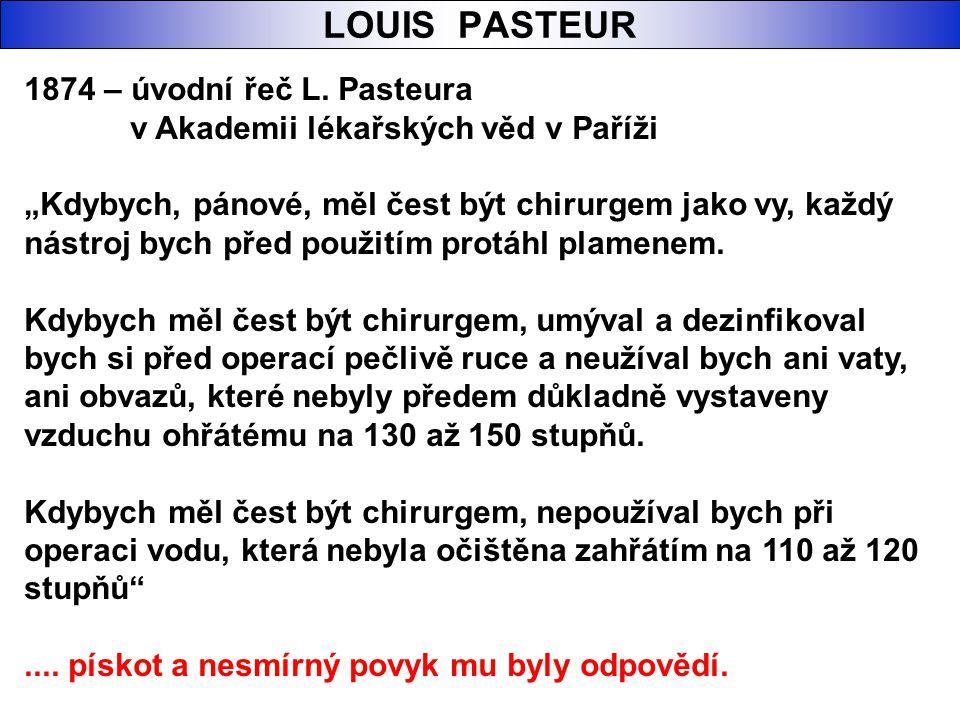 LOUIS PASTEUR 1874 – úvodní řeč L. Pasteura