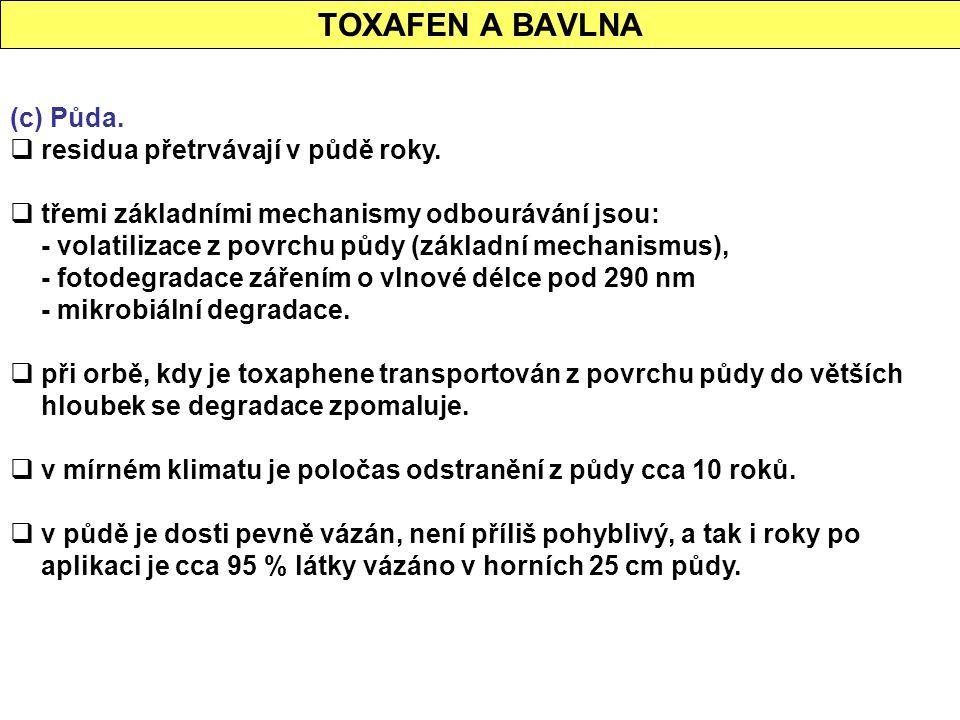 TOXAFEN A BAVLNA (c) Půda. residua přetrvávají v půdě roky.