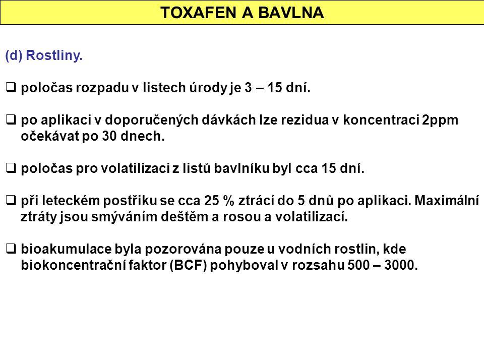 TOXAFEN A BAVLNA (d) Rostliny.