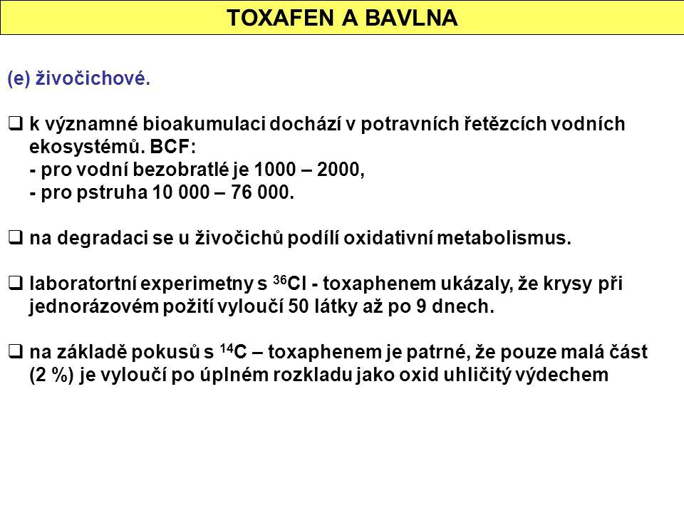 TOXAFEN A BAVLNA (e) živočichové.